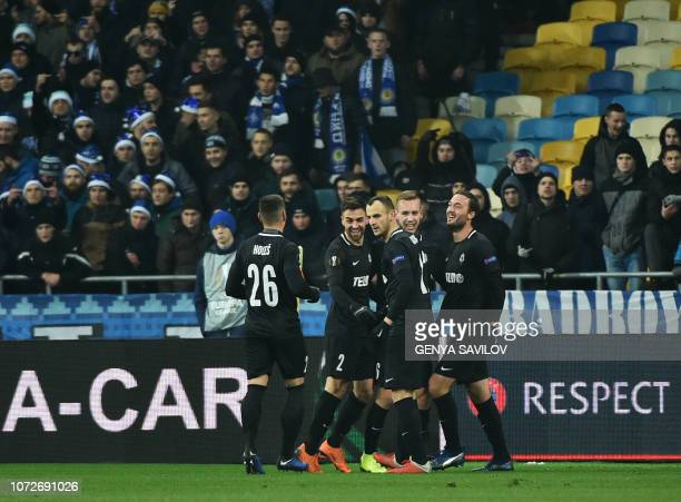 Players of Jablonec react after scoring against Dynamo during the UEFA Europa League Group K football match between FC Dynamo Kyiv and FK Jablonec at...