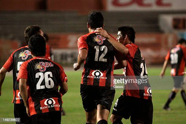 Players of Jaguares celebrate a gol during a match between Jaguares v Necaxa as part of the Copa MX 2012 at Victor Manuel Reyna Stadium in Tuxtla...