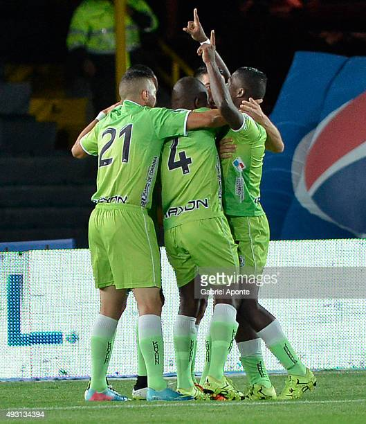 Players of Jaguares FC celebrate a goal scored by Javier Sanguinetti during a match between Millonarios and Jaguares FC as part of round 16 of Liga...