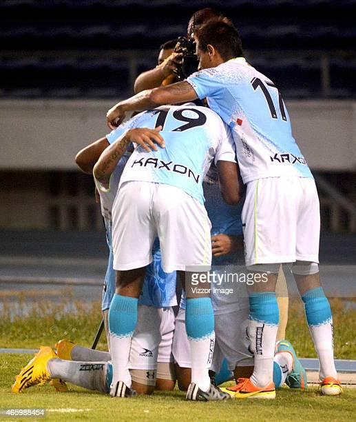 Players of Jaguares FC celebrate scored goal to Uniautonoma during a match between Uniautonoma and Jaguares as part of 9th round of Liga Aguila I...