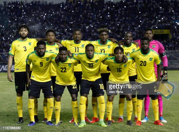 Players of Jamaica pose for photos prior a match between El Salvador and Jamiaca as part of the CONCACAF Gold Cup 2019 Qualifiers at Cuscatlan...