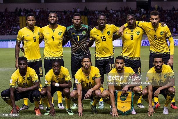 Players of Jamaica Team pose for a team photo prior to the match between Costa Rica and Jamaica as part of the FIFA 2018 World Cup Qualifiers at...