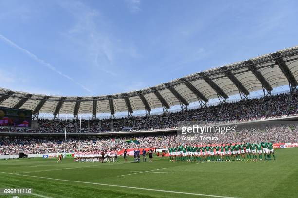 Players of Japan and Ireland line up on the pitch during the international rugby friendly match between Japan and Ireland at Shizuoka Stadium on June...