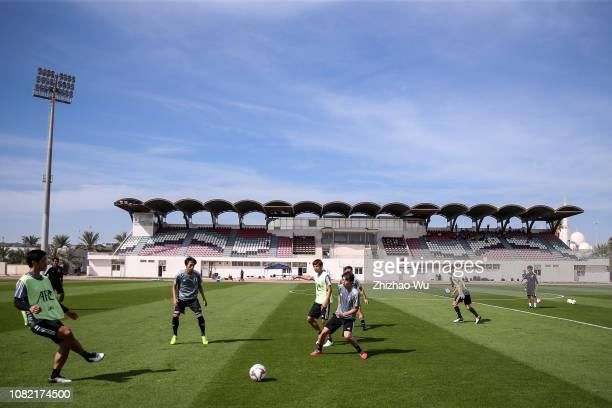 Players of Japan attend a training session at Armed Forces Stadium on January 14, 2019 in Abu Dhabi, United Arab Emirates.