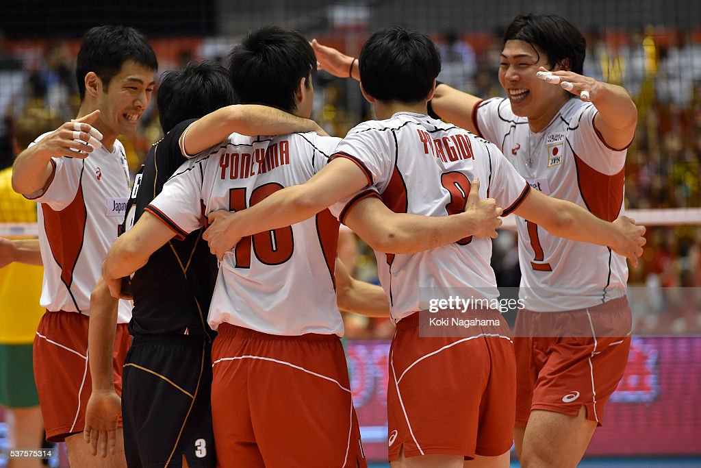 Players of Japan celebrate a point during the Men's World Olympic Qualification game between Australia and Japan at Tokyo Metropolitan Gymnasium on June 2, 2016 in Tokyo, Japan.