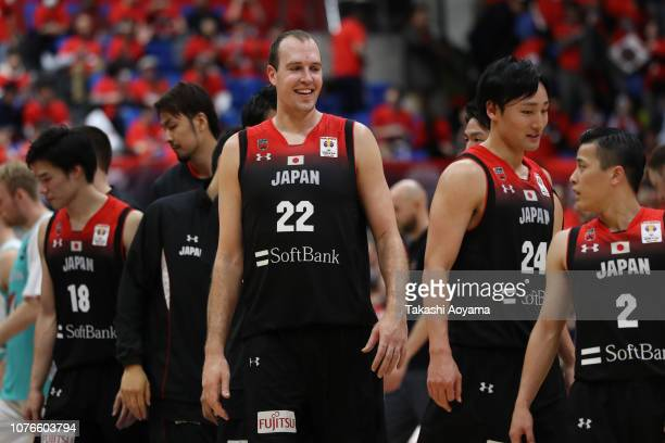 Players of Japan celebrate after defeating Kazakhstan 8670 in the FIBA World Cup Asian Qualifier Group F match between Japan and Kazakhstan at Toyama...
