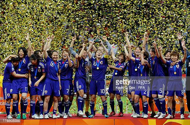 Players of Japan celebrate after defeating USA for the FIFA Women's World Cup Final match between Japan and USA at the FIFA World Cup Stadium...