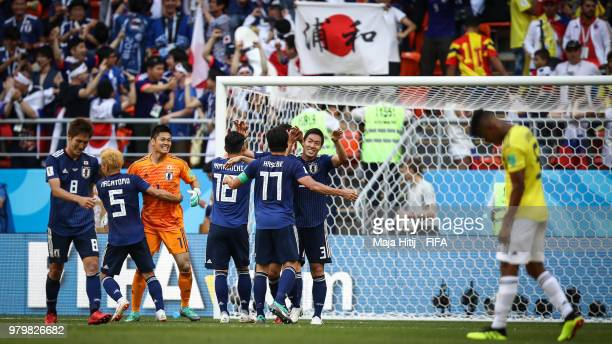 Players of Japan celebrate after the 2018 FIFA World Cup Russia group H match between Colombia and Japan at Mordovia Arena on June 19 2018 in Saransk...