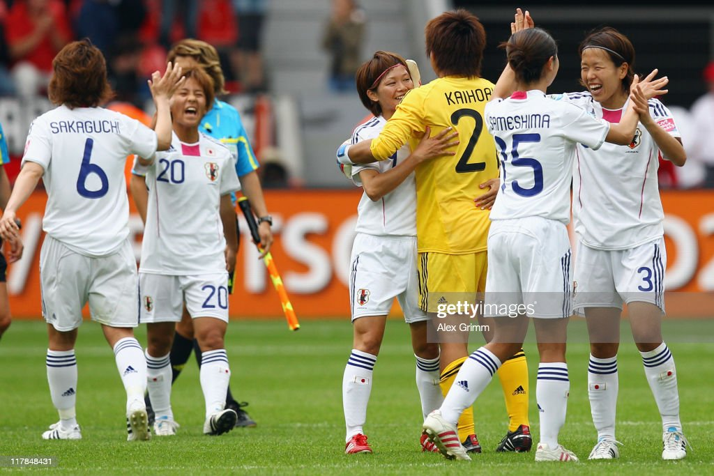 Players of Japan celebrate after the FIFA Women's World Cup 2011 Group B match between Japan and Mexico at the Fifa Womens World Cup Stadium on July 1, 2011 in Leverkusen, Germany.