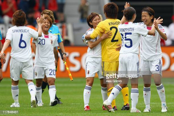 Players of Japan celebrate after the FIFA Women's World Cup 2011 Group B match between Japan and Mexico at the Fifa Womens World Cup Stadium on July...