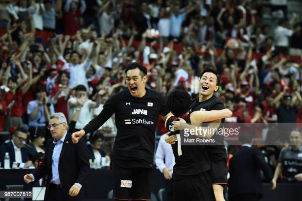 Players of Japan celebrate after winning the FIBA World Cup Asian Qualifier Group B match between Japan and Australia at Chiba Port Arena on June 29...