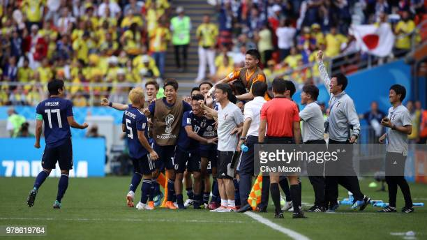 Players of Japan celebrate after Yuya Osako of Japan scored the 2nd Japan goal to make it 21 during the 2018 FIFA World Cup Russia group H match...