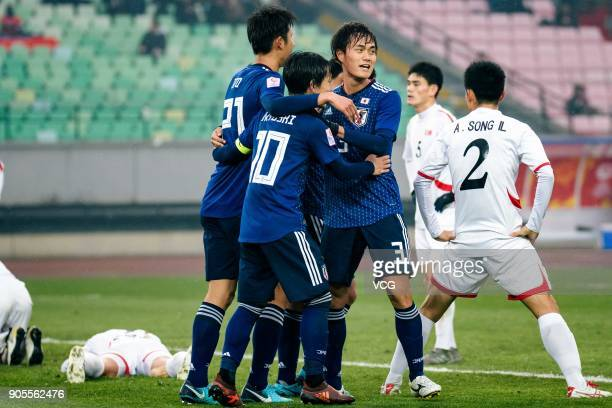 Players of Japan celebrate during the AFC U23 Championship Group B match between Japan and North Korea at Jiangyin Stadium on January 16 2018 in...