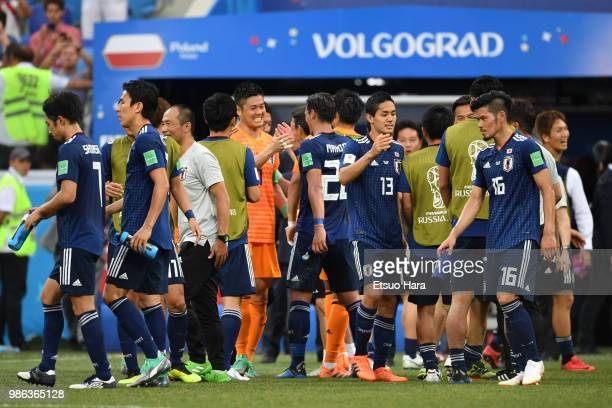 Players of Japan celebrate the qualification for the next round after the 2018 FIFA World Cup Russia group H match between Japan and Poland at...