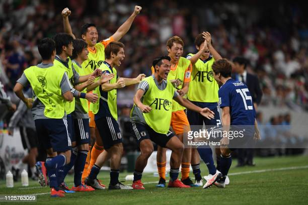 Players of Japan celebrate the second goal by Yuya Osako during the AFC Asian Cup semi final match between Iran and Japan at Hazza Bin Zayed Stadium...