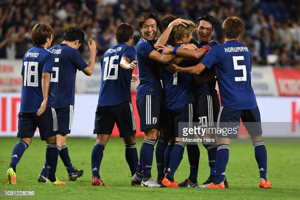 Players of Japan celebrate the third goal during the international friendly match between Japan and Costa Rica at Suita City Football Stadium on...