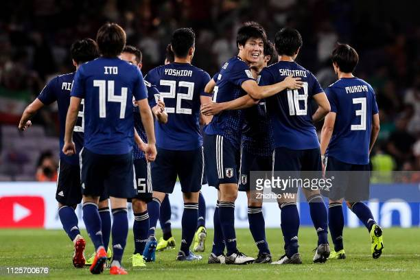 Players of Japan celebrate the victory after the AFC Asian Cup semi final match between Iran and Japan at Hazza Bin Zayed Stadium on January 28 2019...