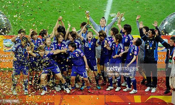 Players of Japan celebrates after winning the FIFA Womens's World Cup Final 2011 between the United States of America and Japan at FIFA Word Cup...