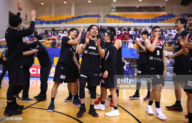 Players of Japan celebrates victory after the FIBA Basketball World Cup 2019 Asian Qualifier between Qatar and Japan at Al Gharrafa Sport Complex on...
