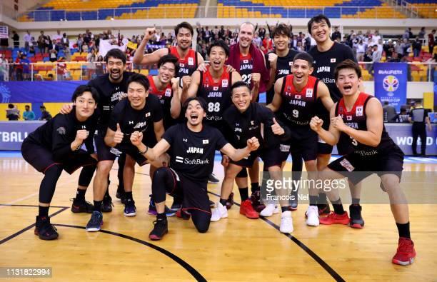 Players of Japan celebrates victory after winnining the FIBA Basketball World Cup 2019 Asian Qualifier between Qatar and Japan at Al Gharrafa Sport...