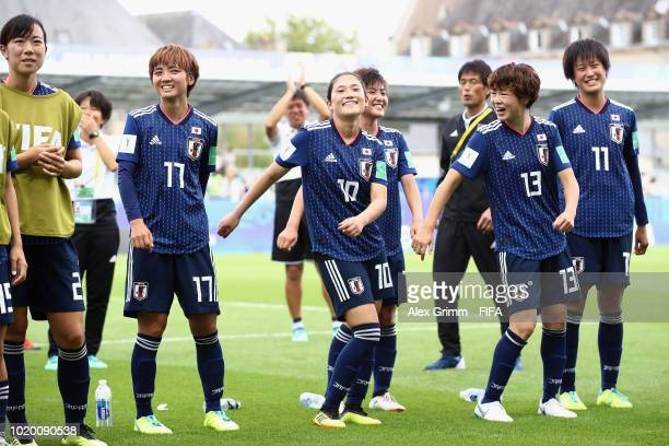Players of Japan dance after the FIFA U20 Women's World Cup France 2018 Semi Final semi final match between England and Japan at Stade de la Rabine...