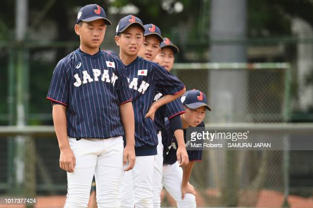 Rinta Inafuku of Japan during a BFA U12 Asian Championship training session at Youth Park Baseball Field on August 16 2018 in Taipei Taiwan