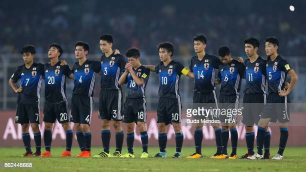 Players of Japan focus on penalties during the FIFA U17 World Cup India 2017 Round of 16 match between England and Japan at Vivekananda Yuba Bharati...