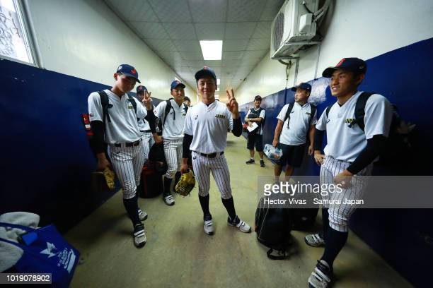Players of Japan pose during the WBSC U15 World Cup Group B match between South Africa and Japan at Estadio Rico Cedeno on August 14 2018 in Chitre...
