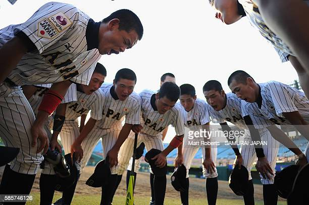 Players of Japan huddle before the super round game between Japan and Venezuela during The 3rd WBSC U-15 Baseball World Cup 2016 at the Iwaki Green...