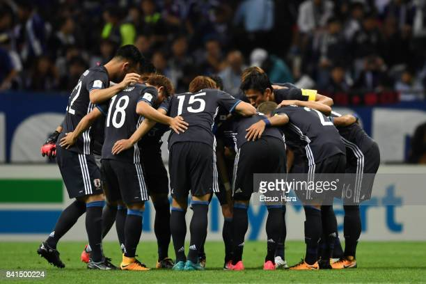 Players of Japan huddle during the FIFA World Cup Qualifier match between Japan and Australia at Saitama Stadium on August 31 2017 in Saitama Japan
