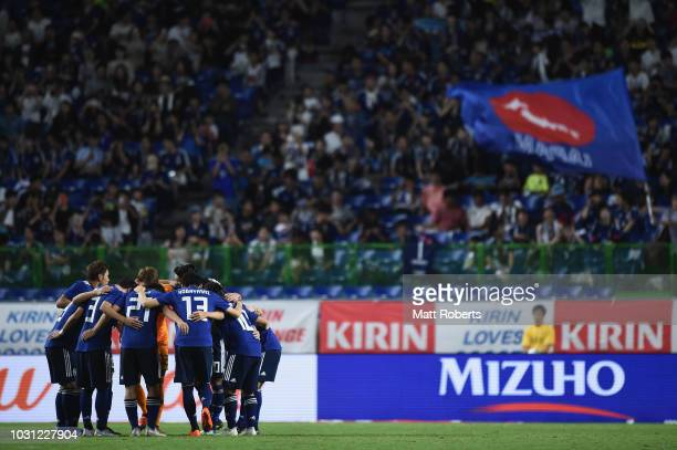 Players of Japan huddle during the international friendly match between Japan and Costa Rica at Suita City Football Stadium on September 11 2018 in...