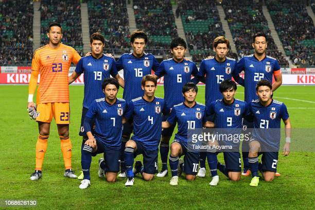 Players of Japan line up for team photos prior to the international friendly match between Japan and Venezuela at Oita Bank Dome on November 16 2018...