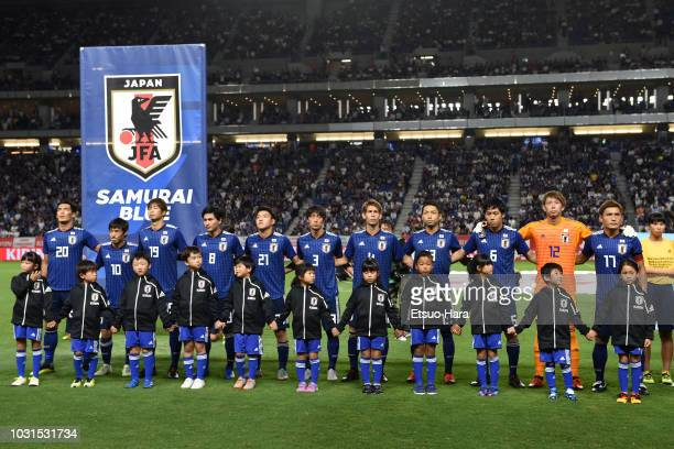 Players of Japan line up prior to the international friendly match between Japan and Costa Rica at Suita City Football Stadium on September 11 2018...