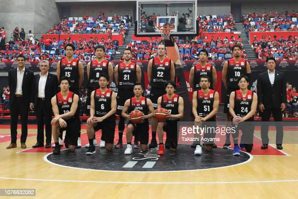 Players of Japan lineup for team photograph prior to the FIBA World Cup Asian Qualifier Group F match between Japan and Kazakhstan at Toyama City...