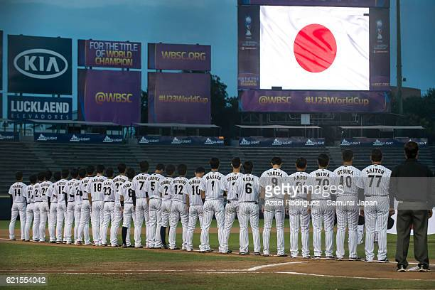 Players of Japan listen to their national anthem prior the WBSC U23 Baseball World Cup World Championship Final game between Australia and Japan at...