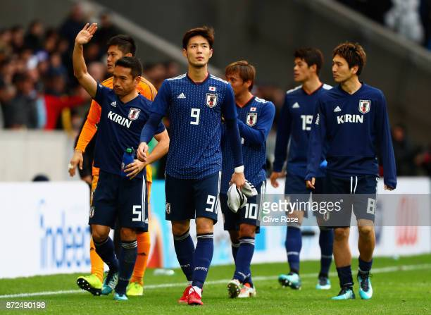 Players of Japan looks dejected after the international friendly match between Brazil and Japan at Stade PierreMauroy on November 10 2017 in Lille...