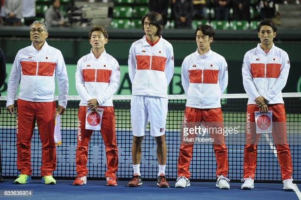 Players of Japan looks on during the anthem before the Davis Cup by BNP Paribas first round singles match between Japan and France at Ariake...