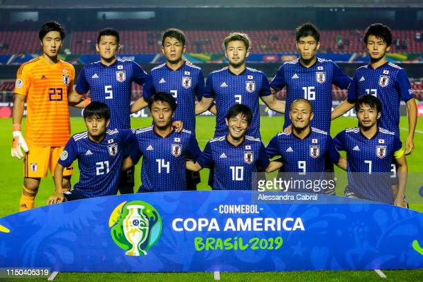 Players of Japan pose before the Copa America Brazil 2019 group C match between Japan and Chile at Morumbi Stadium on June 17, 2019 in Sao Paulo,...