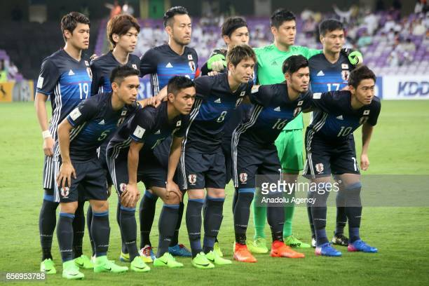 Players of Japan pose for a photo ahead of the 2018 FIFA World Cup Asian Qualifying group B football match between United Arab Emirates and Japan at...
