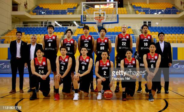 Players of Japan pose for a picture before the start of the FIBA World Cup Asian Qualifier match between Qatar and Japan on February 24 2019 in Doha...