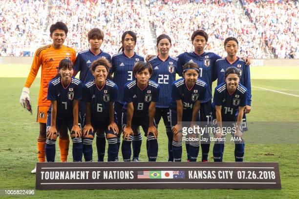 Players of Japan pose for a team photo during the 2018 Tournament Of Nations women's match between Japan v United States of America at Children's...