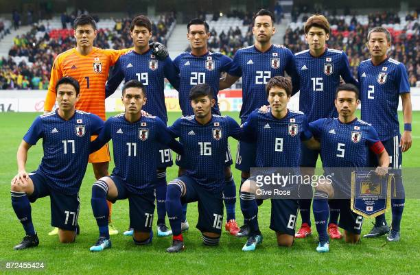Players of Japan pose for a team photo during the international friendly match between Brazil and Japan at Stade PierreMauroy on November 10 2017 in...