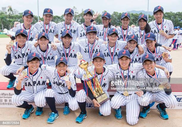 Players of Japan pose for photo with their medal and trophy during the BFA Women's Baseball Asian Cup Presentation Ceremony at Sai Tso Wan Recreation...