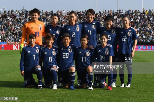 Players of Japan pose for photographs prior to the international friendly match between Japan and Norway at Torigin Bird Stadium on November 11 2018...