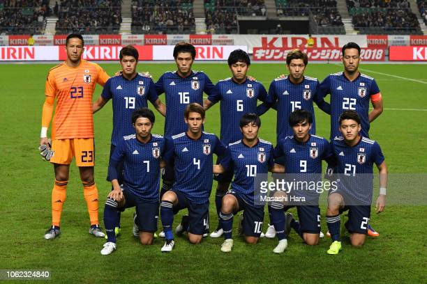 Players of Japan pose for photographs prior to the international friendly match between Japan and Venezuela at Oita Bank Dome on November 16 2018 in...