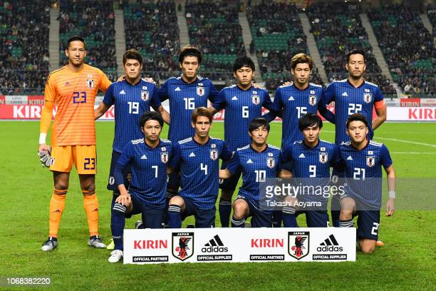 Players of Japan pose for team photos prior to the international friendly match between Japan and Venezuela at Oita Bank Dome on November 16 2018 in...