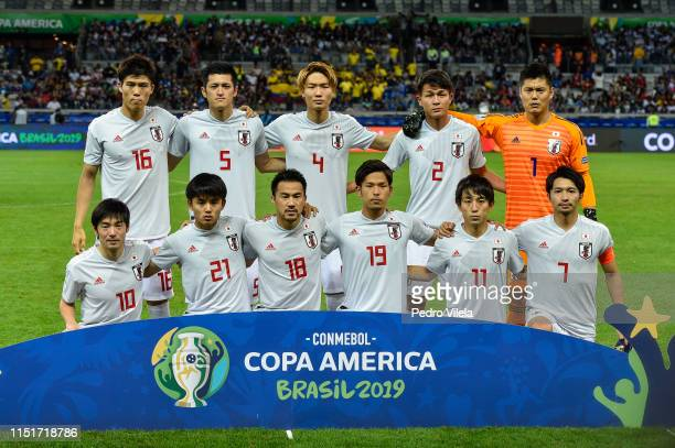 Players of Japan pose for the team photo ahead of the Copa America Brazil 2019 group C match between Ecuador and Japan at Mineirao Stadium on June...