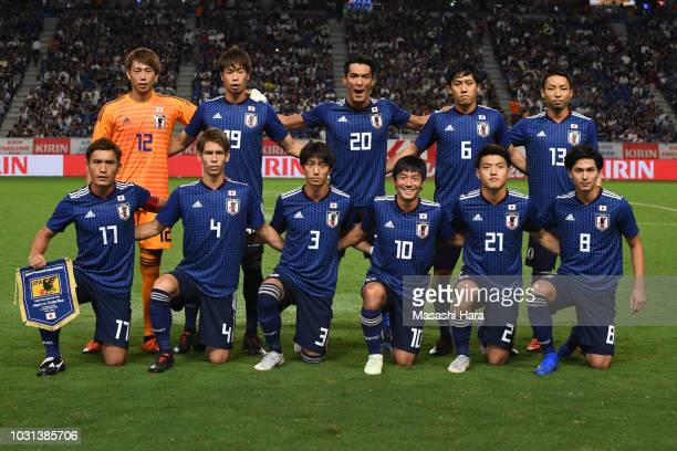 Players of Japan pose for the team photo prior to the international friendly match between Japan and Costa Rica at Suita City Football Stadium on...