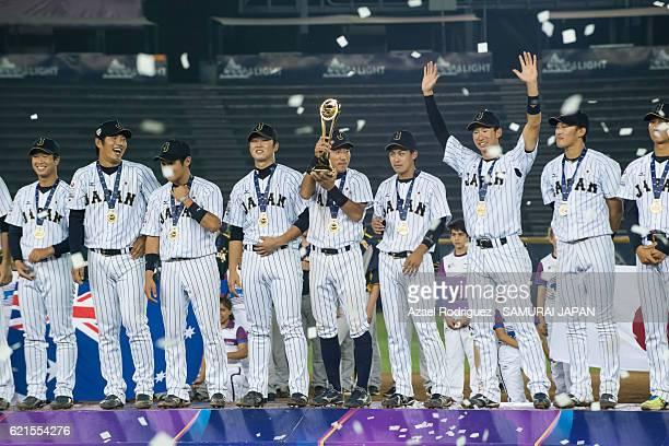 Players of Japan receive a trophy after winning the WBSC U23 Baseball World Cup World Championship at Estadio de Beisbol Monterrey on November 6 2016...