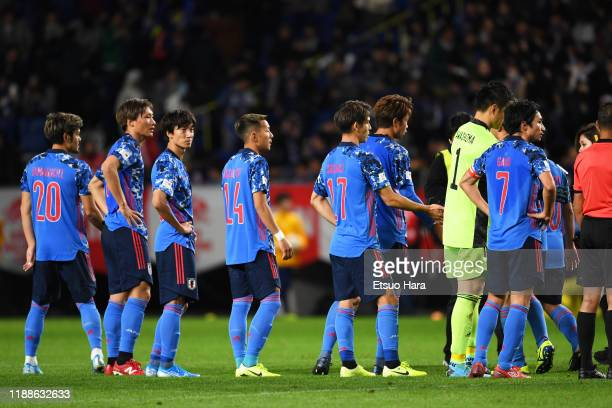 Players of Japan show dejection after the international friendly match between Japan and Venezuela at the Panasonic Stadium Suita on November 19 2019...